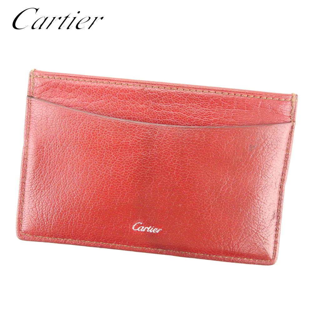 【中古】 カルティエ Cartier カードケース パスケース レディース メンズ コレクション レ マスト レッド シルバー レザー 人気 セール E1265