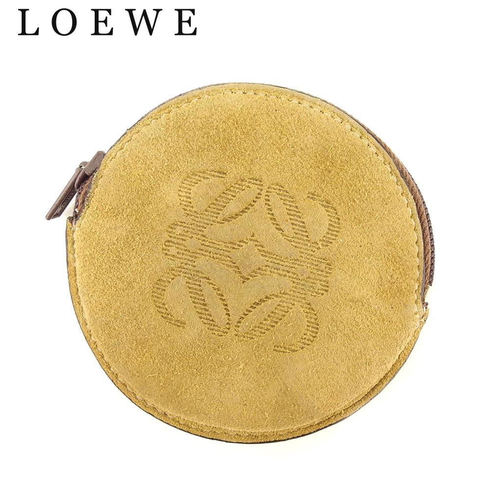 【中古】 ロエベ LOEWE コインケース 小銭入れ レディース メンズ ラウンドフォルム アナグラム ベージュ ブラウン スエード 人気 セール F1341