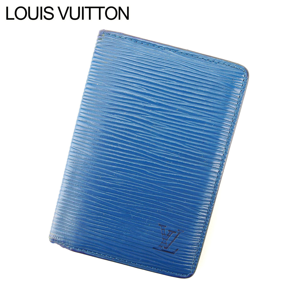 【中古】 ルイ ヴィトン Louis Vuitton カードケース 名刺入れ メンズ オーガナイザードゥポッシュ エピ ブルー エピレザー 廃盤 人気 F1343 .