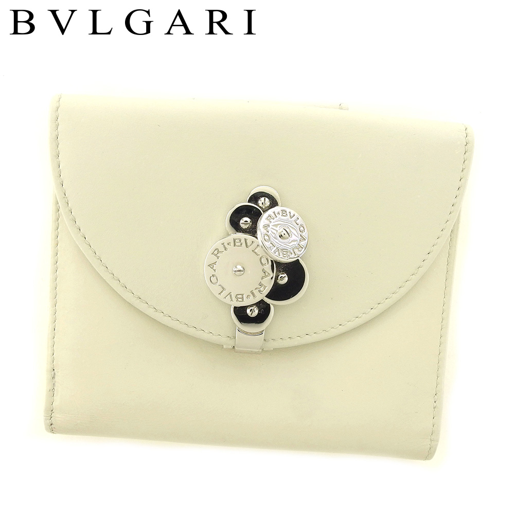 【中古】 ブルガリ BVLGARI Wホック 財布 二つ折り レディース チクラディ ホワイト 白 シルバー レザー 人気 良品 S882 .