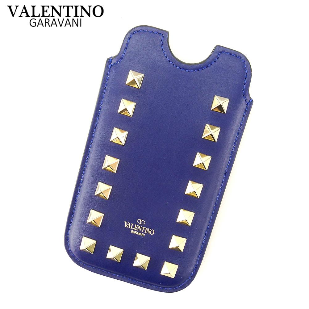 【中古】 ヴァレンティノ ガラヴァーニ VALENTINO GARAVANI iPhoneケース スマホケース 携帯ケース レディース メンズ ロックスタッズ ネイビー ゴールド レザー 美品 セール T7767 .