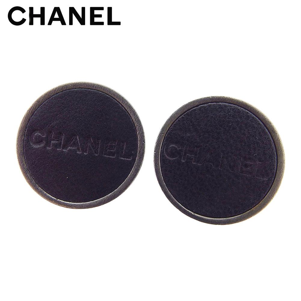 【中古】 シャネル CHANEL イヤリング アクセサリー レディース メンズ ラウンドフォルム 丸型 ロゴ ブラック シルバー レザー×シルバー金具 ヴィンテージ 良品 T7774