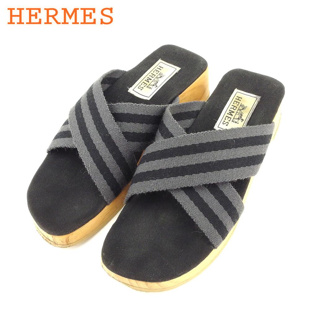 【中古】 エルメス HERMES サンダル シューズ 靴 メンズ可 ♯36 クロスデザイン ウッドソール フールトゥ グレー 灰色 ブラック ベージュ キャンバス×ウッド 人気 セール T7780 .