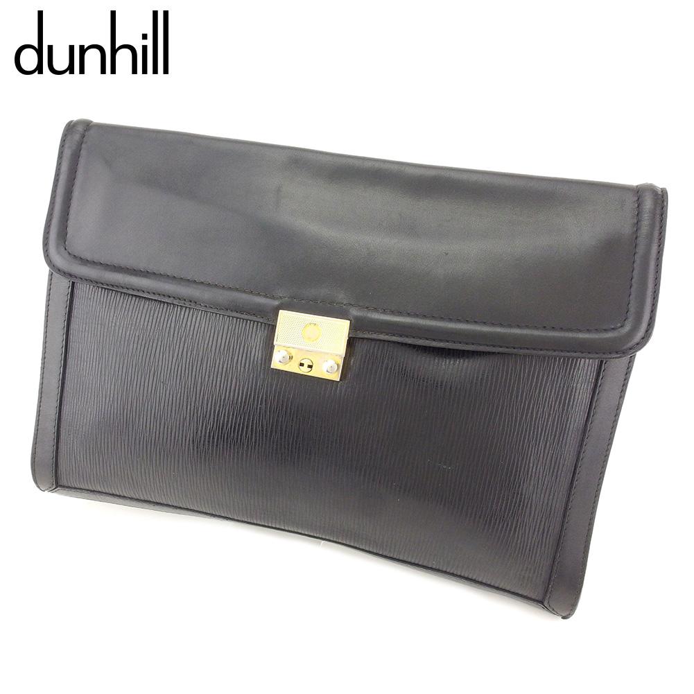 【中古】 ダンヒル dunhill ビジネスバッグ 書類ケース メンズ dモチーフプレート ブラック ゴールド レザー 人気 セール T7784