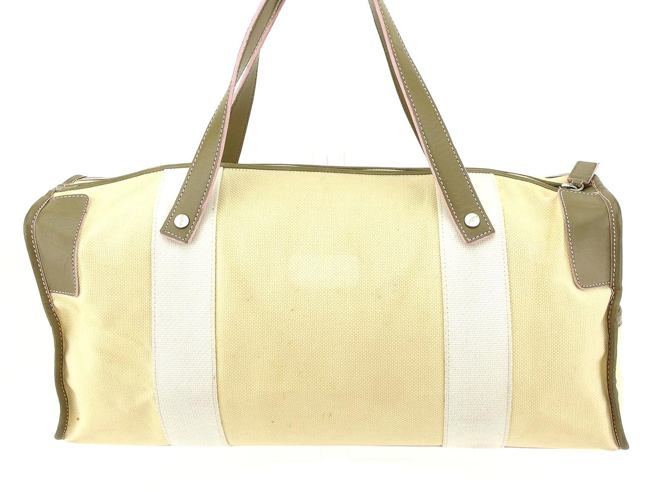 Loewe LOEWE handbag mini-Boston bag Lady s logogriph beige green white  White Russian canvas X leather popularity sale T7787 df91674735b03