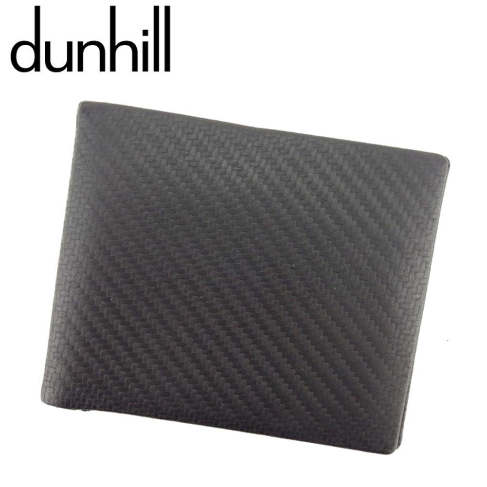 【中古】 ダンヒル dunhill 二つ折り 札入れ メンズ シャーシ ブラック カーボン加工マットプリンテッドレザー 人気 セール T7991