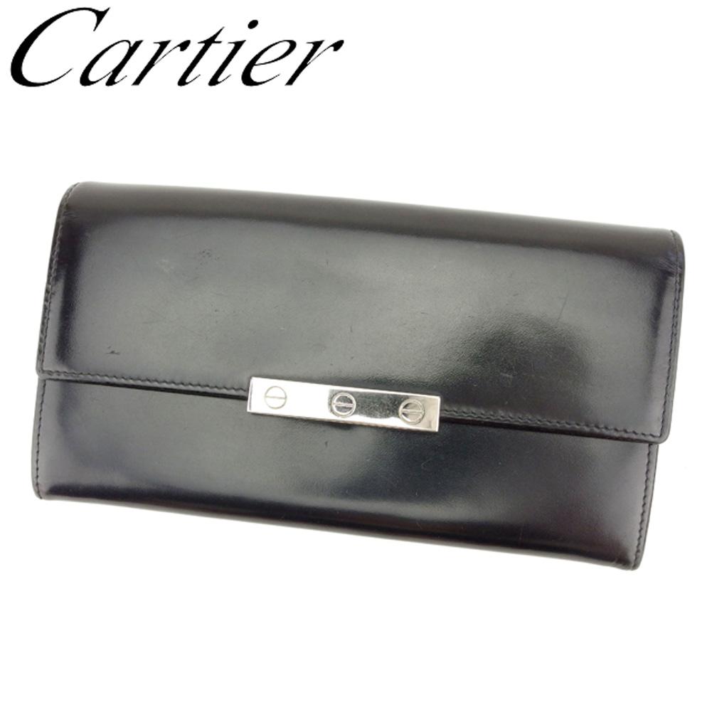 【中古】 カルティエ Cartier 長財布 ファスナー付き 財布 レディース メンズ ラブコレクション ブラック シルバー レザー 人気 セール T7992 .