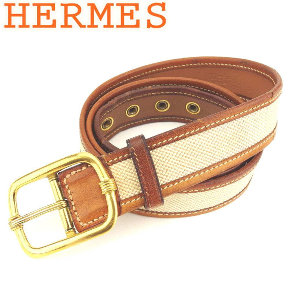 【スーパーSALE】 【20%オフ】 【中古】 エルメス HERMES ベルト ♯85サイズ レディース メンズ ピン式バックル ベージュ ブラウン ゴールド キャンバス×レザー×ゴールド金具 T7996