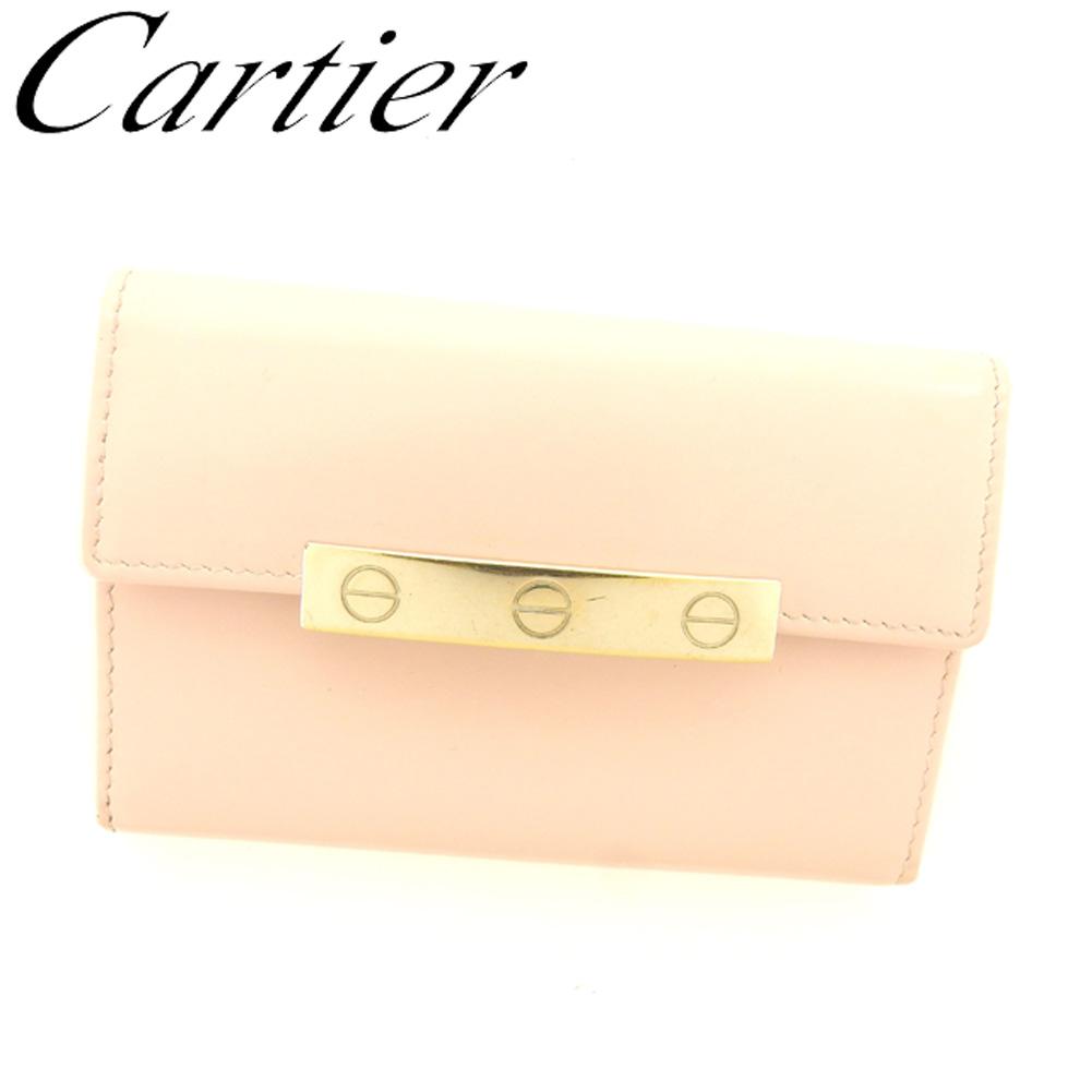 【中古】 カルティエ Cartier カードケース 名刺入れ レディース ピンク ゴールド レザー T8000 .