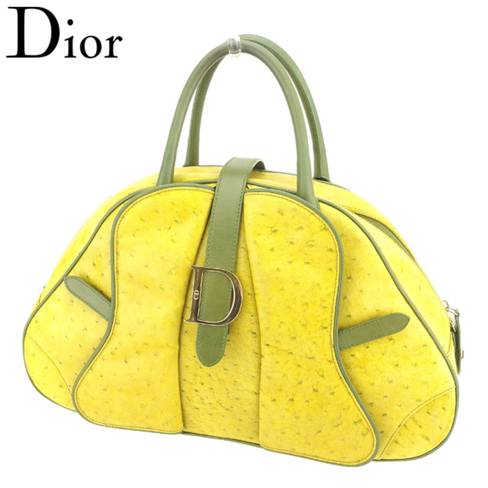 【中古】 ディオール Dior ハンドバッグ ミニボストンバッグ レディース メンズ Dマーク イエロー グリーン ゴールド オーストリッチ×レザー 人気 セール T8004 .