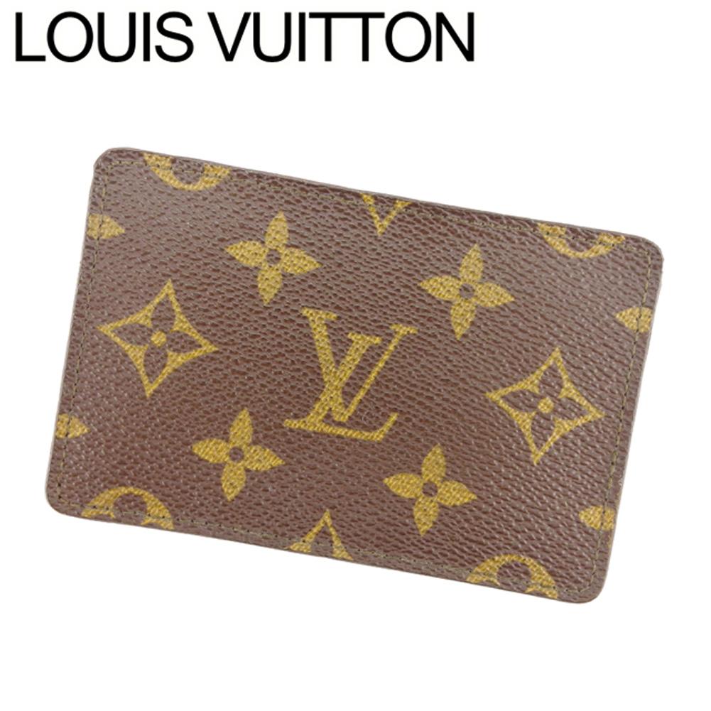 【中古】 ルイ ヴィトン Louis Vuitton カードケース 名刺入れ パスケース レディース メンズ ブラウン ベージュ モノグラムキャンバス T8026