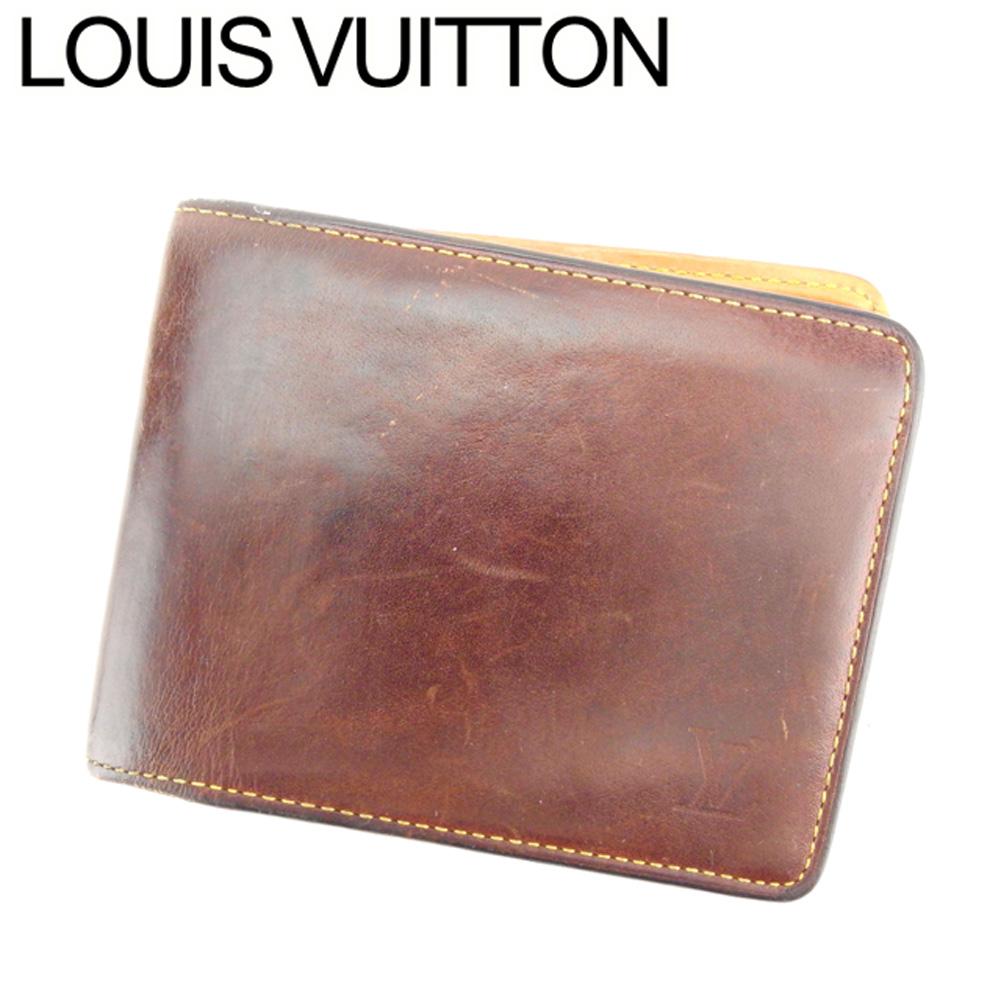 【中古】 ルイ ヴィトン Louis Vuitton 二つ折り 札入れ メンズ ポルトビエ6カルトクレディ ノマド ブラウン ベージュ ノマドレザー 人気 セール T8028 .