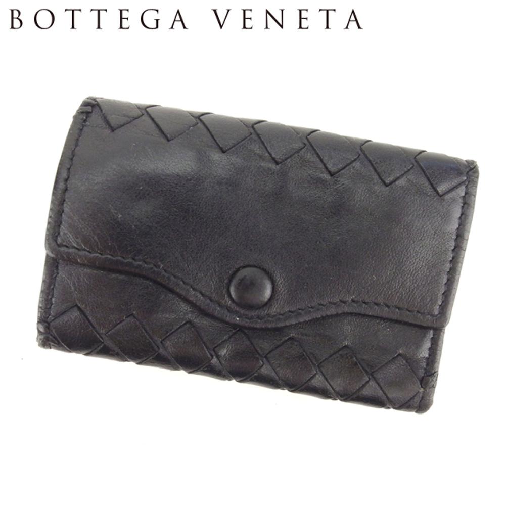 【中古】 ボッテガ ヴェネタ BOTTEGA VENETA キーケース 5連キーケース レディース メンズ イントレチャート ブラック レザー 人気 セール T8030 .