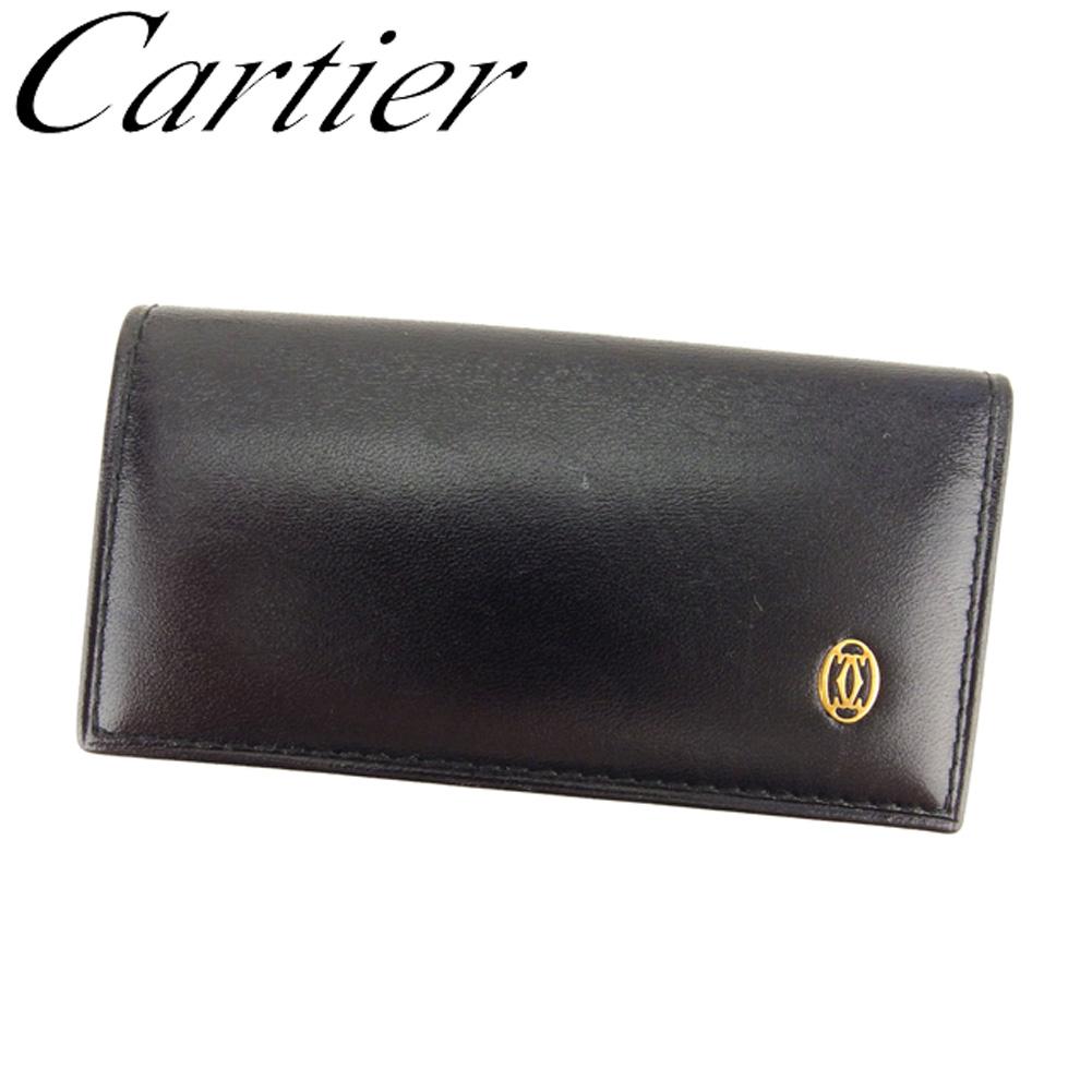 【中古】 カルティエ Cartier キーケース 4連キーケース レディース メンズ パシャ ブラック ゴールド レザー 人気 良品 T8034 .
