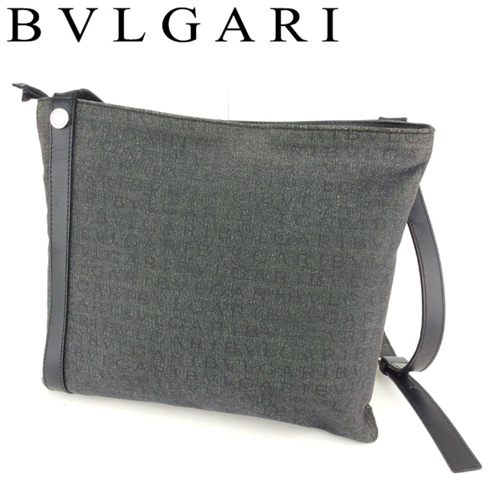 【中古】 ブルガリ BVLGARI ショルダーバッグ 斜めがけショルダー バッグ レディース メンズ ロゴマニア グレー 灰色 ブラック シルバー キャンバス×レザー 人気 セール T8045 .