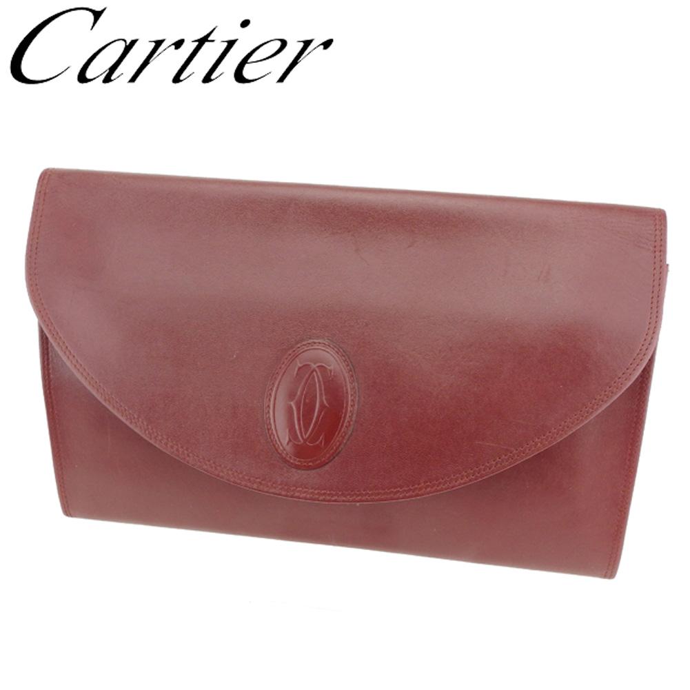 【中古】 カルティエ Cartier クラッチバッグ セカンドバッグ レディース メンズ マストライン ボルドー レザー 人気 セール T8048