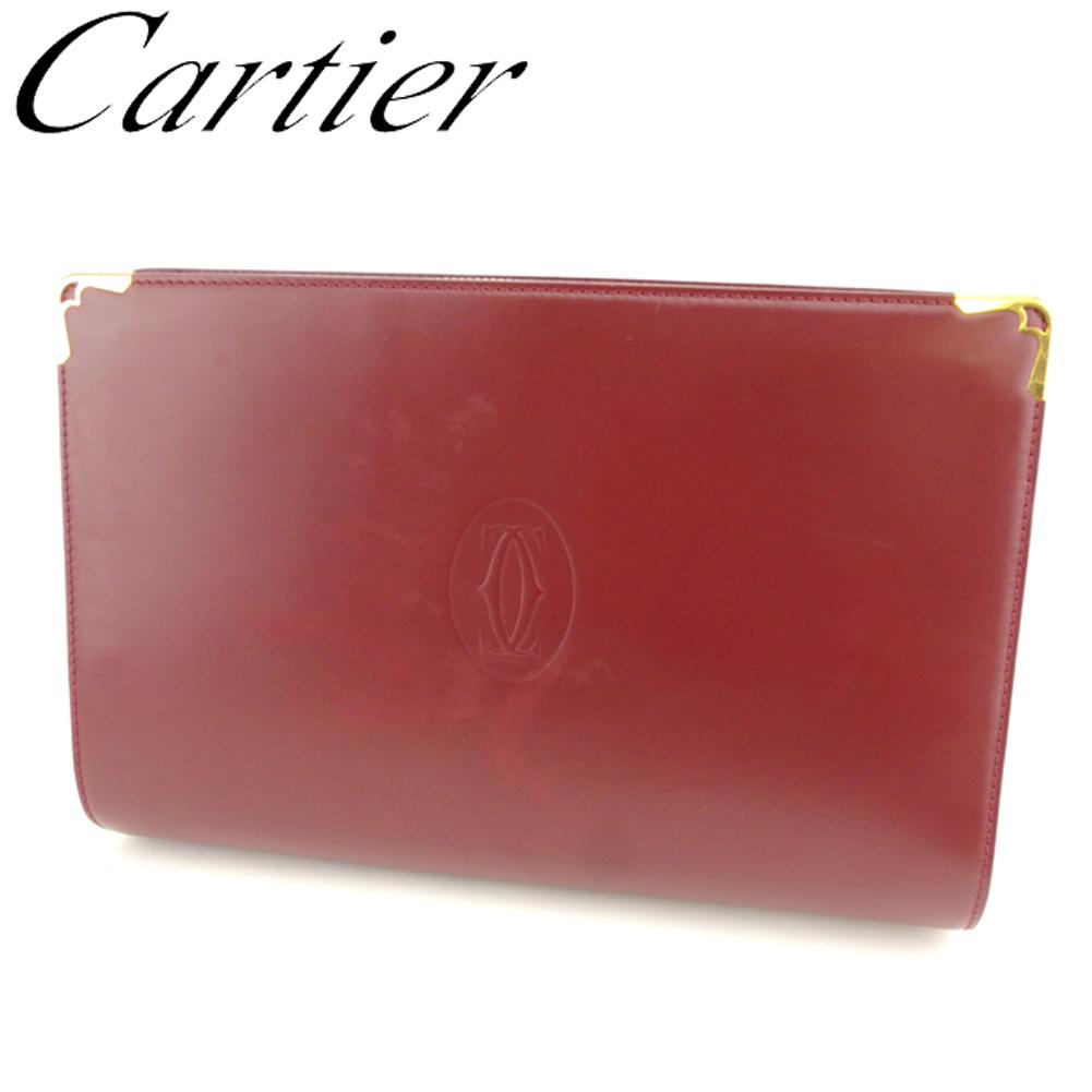 【中古】 カルティエ Cartier クラッチバッグ セカンドバッグ レディース メンズ マストライン ボルドー ゴールド レザー 人気 セール T8051 .