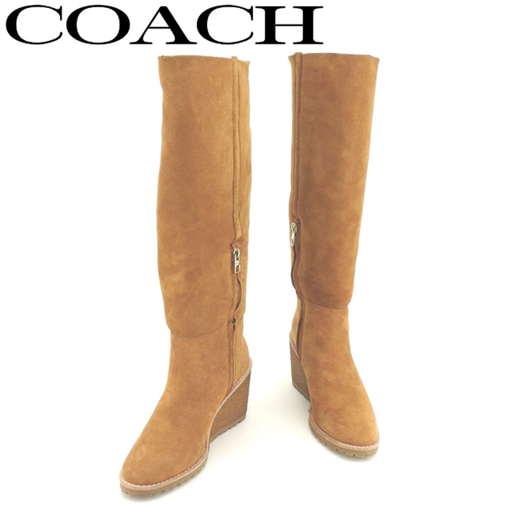 【中古】 コーチ COACH ブーツ シューズ 靴 レディース ♯36 ロング ウェッジソール ライトブラウン ゴールド シープスキン T8071