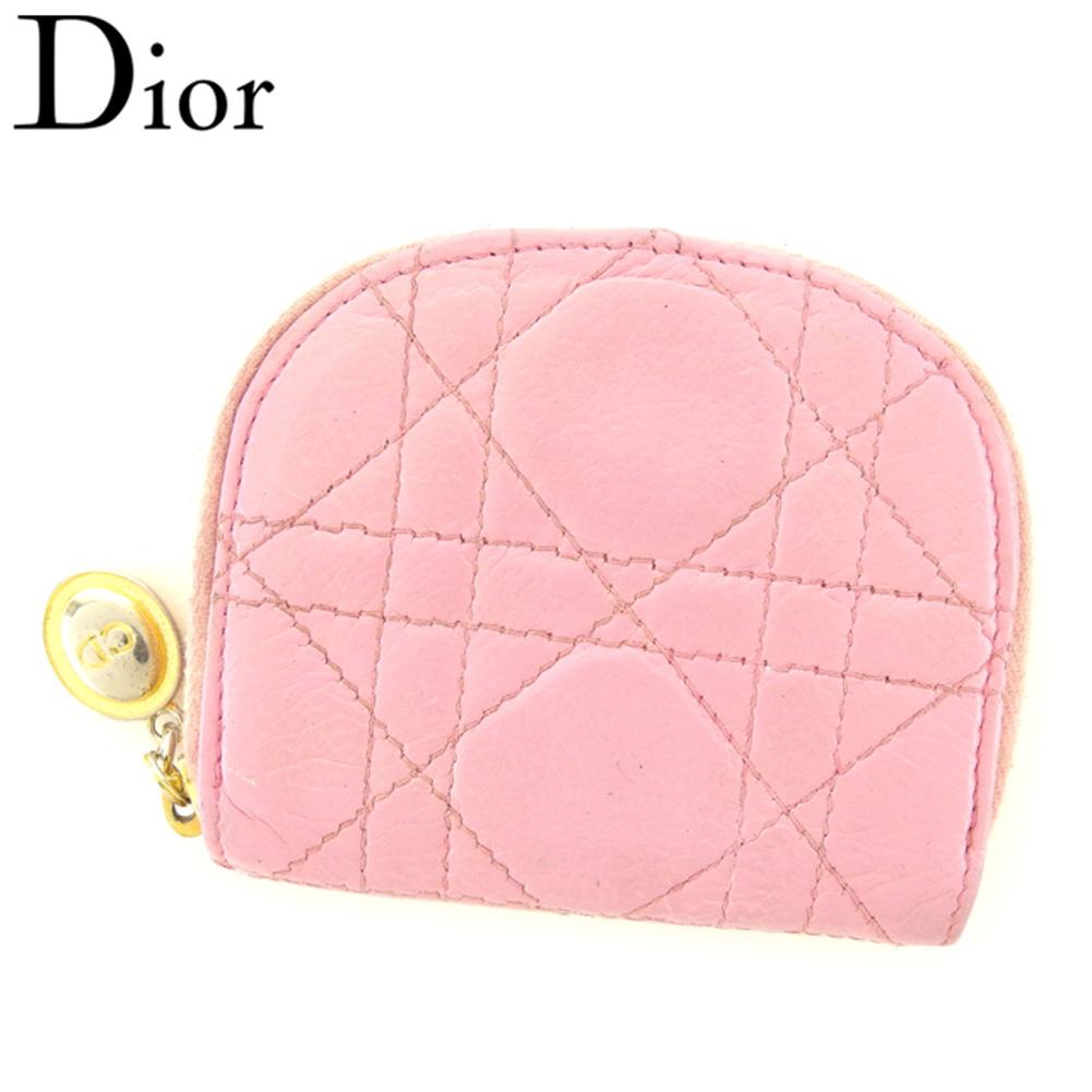 【スーパーセール】 【20%オフ】 【中古】 ディオール Dior コインケース 小銭入れ レディース ピンク ゴールド シルバー レザー T8073