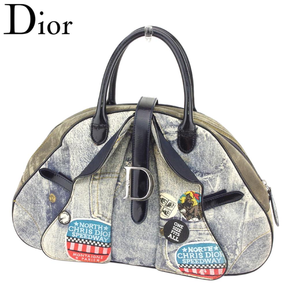 【中古】 ディオール Dior ハンドバッグ ボストンバッグ レディース ダブルサドル デニム トロンプルイユ ブルー ネイビー グリーン系 キャンバス×エナメルレザー 訳あり セール T8074 .