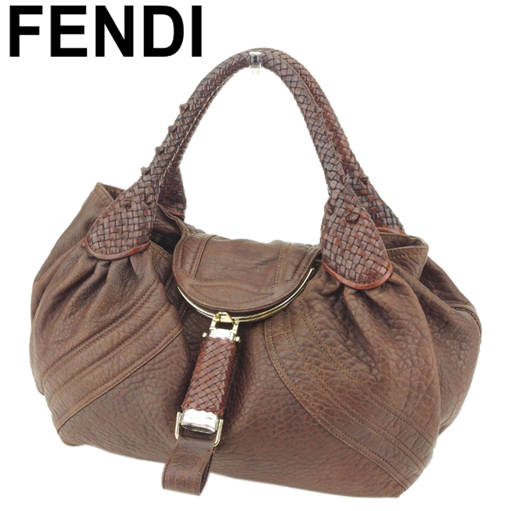 BRAND DEPOT TOKYO  Fendi FENDI handbag bag lady soot pie bag brown silver  gold leather popularity sale T8077  3f84f42703532