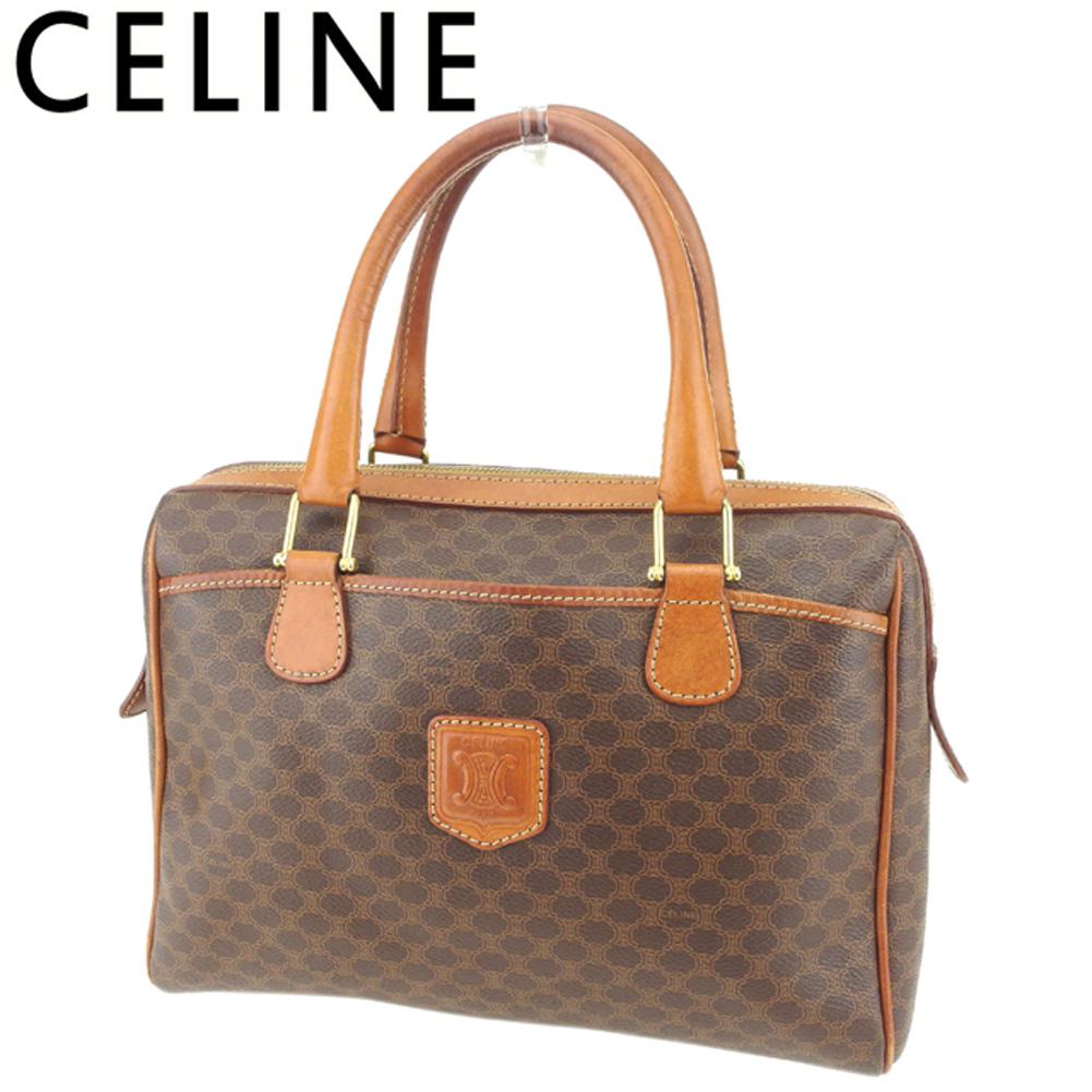 001059919489 Celine CELINE handbag mini-Boston bag Lady s men macadam brown beige gold  PVC X leather popularity sale T8090.