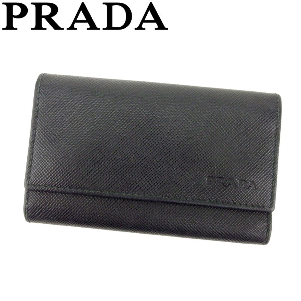 【中古】 プラダ PRADA キーケース 6連キーケース レディース メンズ ロゴ ブラック シルバー サフィアーノレザー 人気 良品 T8091