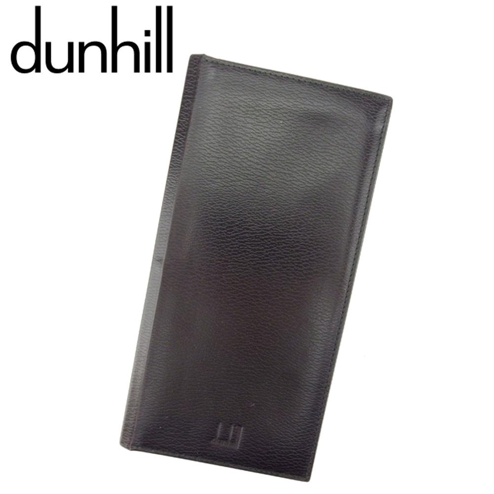 【中古】 ダンヒル dunhill 長札入れ 札入れ メンズ ブラウン ブラック レザー T8093 .
