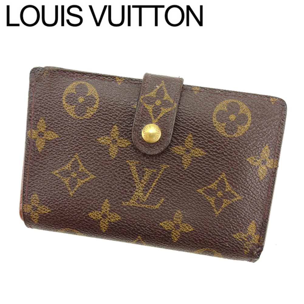 【中古】 ルイ ヴィトン Louis Vuitton がま口 財布 二つ折り レディース メンズ ポルトモネビエヴィエノワ モノグラム ブラウン ベージュ ゴールド モノグラムキャンバス 人気 セール T8109 .