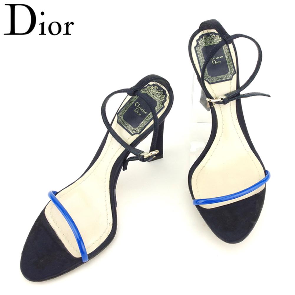 【中古】 ディオール Dior サンダル シューズ 靴 レディース ♯35ハーフ ピンヒール ネイビー ブルー ゴールド サテン×レザー T8114