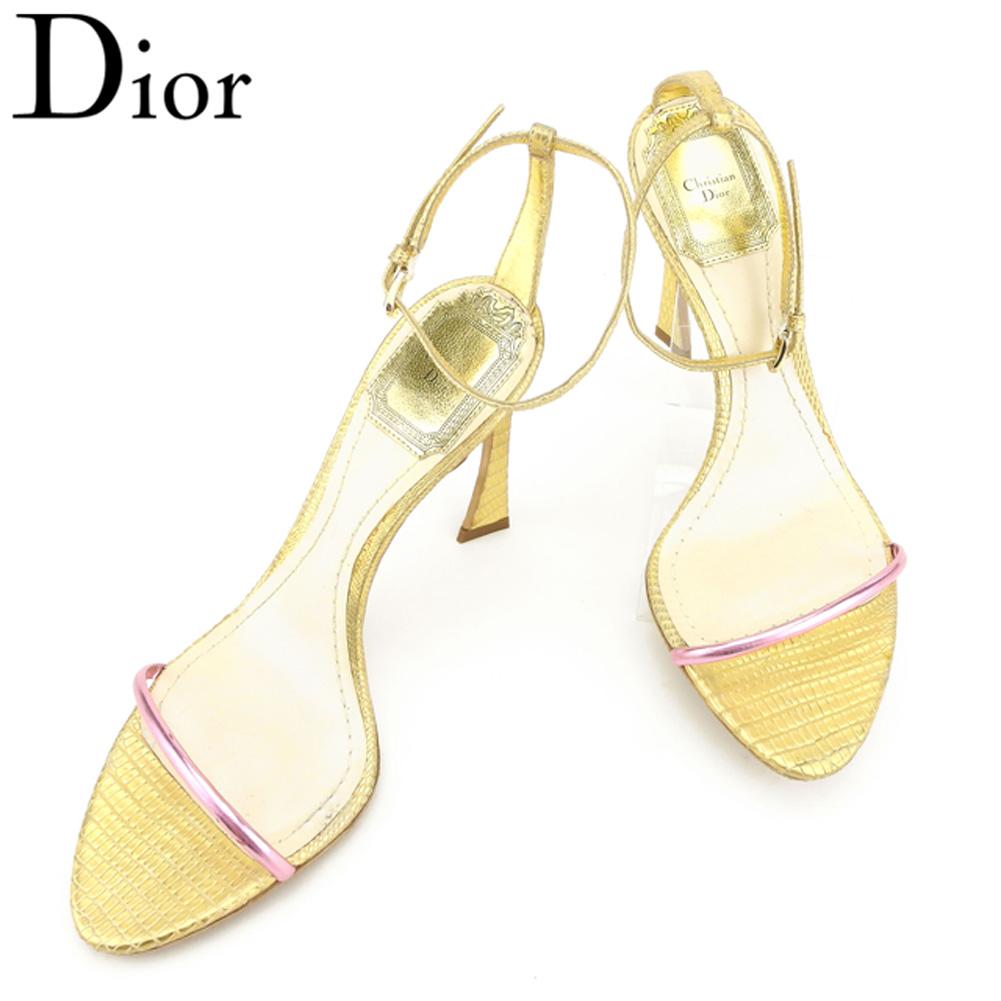 【中古】 ディオール Dior サンダル シューズ 靴 レディース ♯35ハーフ アンクルストラップ ゴールド ピンク 型押しレザー T8115
