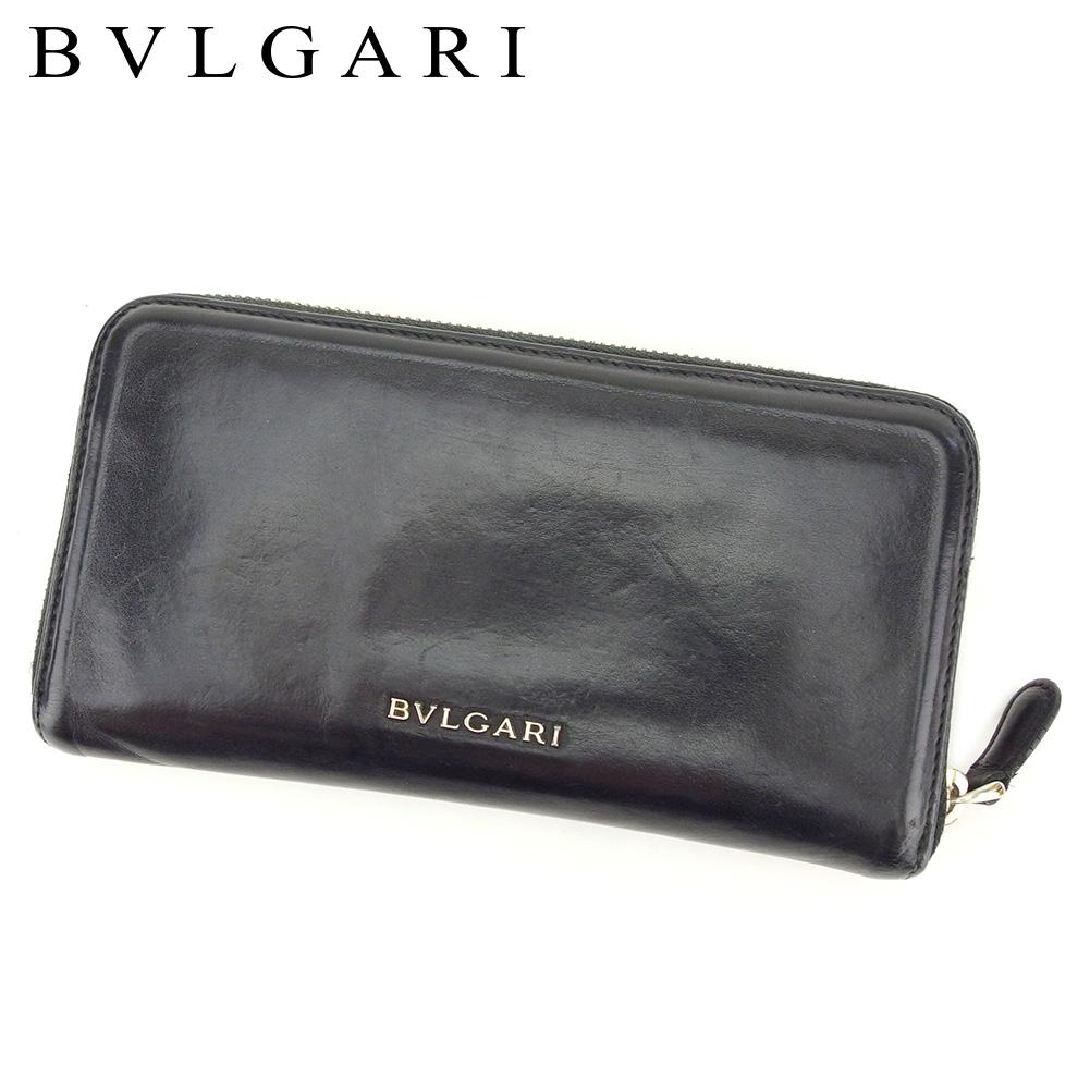 【中古】 ブルガリ BVLGARI 長財布 ラウンドファスナー レディース メンズ  ブラック レザー 人気 セール T8503 .