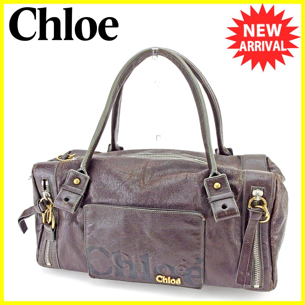 【中古】 クロエ ボストンバッグ ショルダーバッグ Chloe ブラウン ブラック ゴールド シルバー T5555s