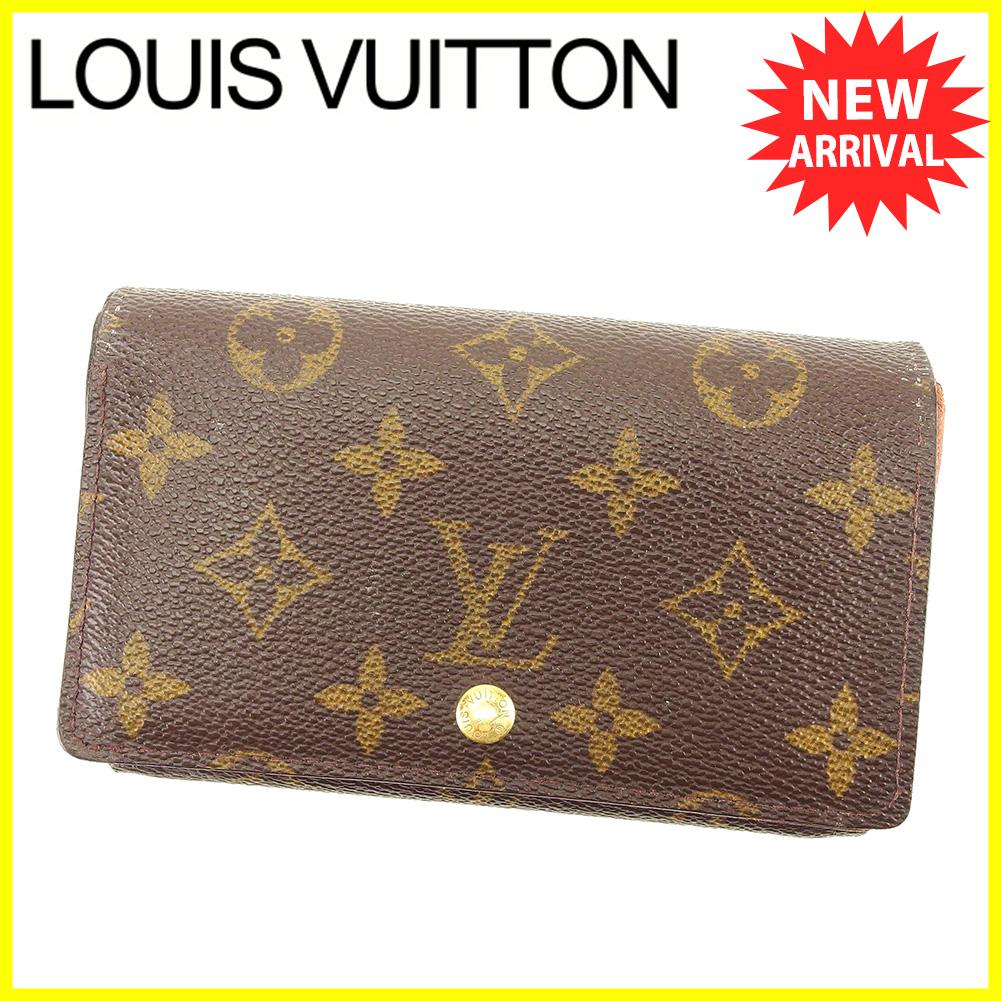 【中古】 ルイ ヴィトン Louis Vuitton L字ファスナー 財布 二つ折り メンズ可 ポルトモネビエトレゾール モノグラム ブラウン ベージュ ゴールド モノグラムキャンバス 人気 T6145 .
