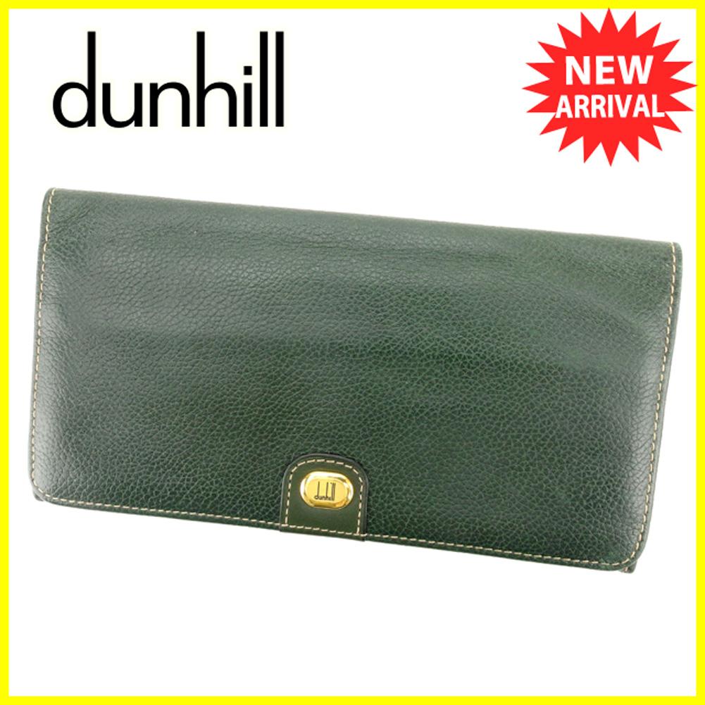 【中古】 ダンヒル 長財布 ファスナー付き 長財布 Dunhill グリーン T6219s