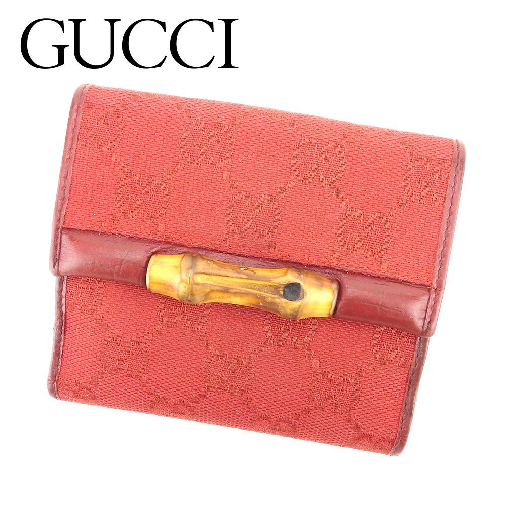 【中古】 グッチ GUCCI Wホック財布 二つ折り 財布 レディース GG柄 レッド キャンバス×レザー 人気 T6422 .