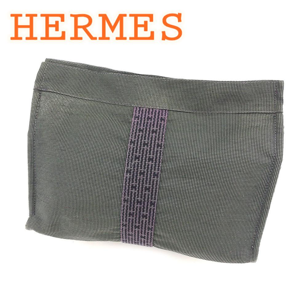 【中古】 エルメス HERMES クラッチバッグ セカンドバッグ レディース メンズ 可 エールライン グレー 灰色 綿100% 人気 T6431