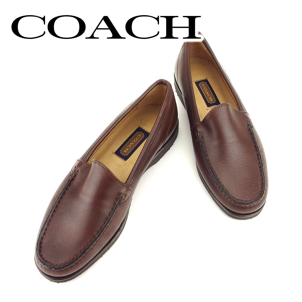 【中古】 コーチ COACH シューズ 靴 メンズ可 #7 ブラウン レザー T6433