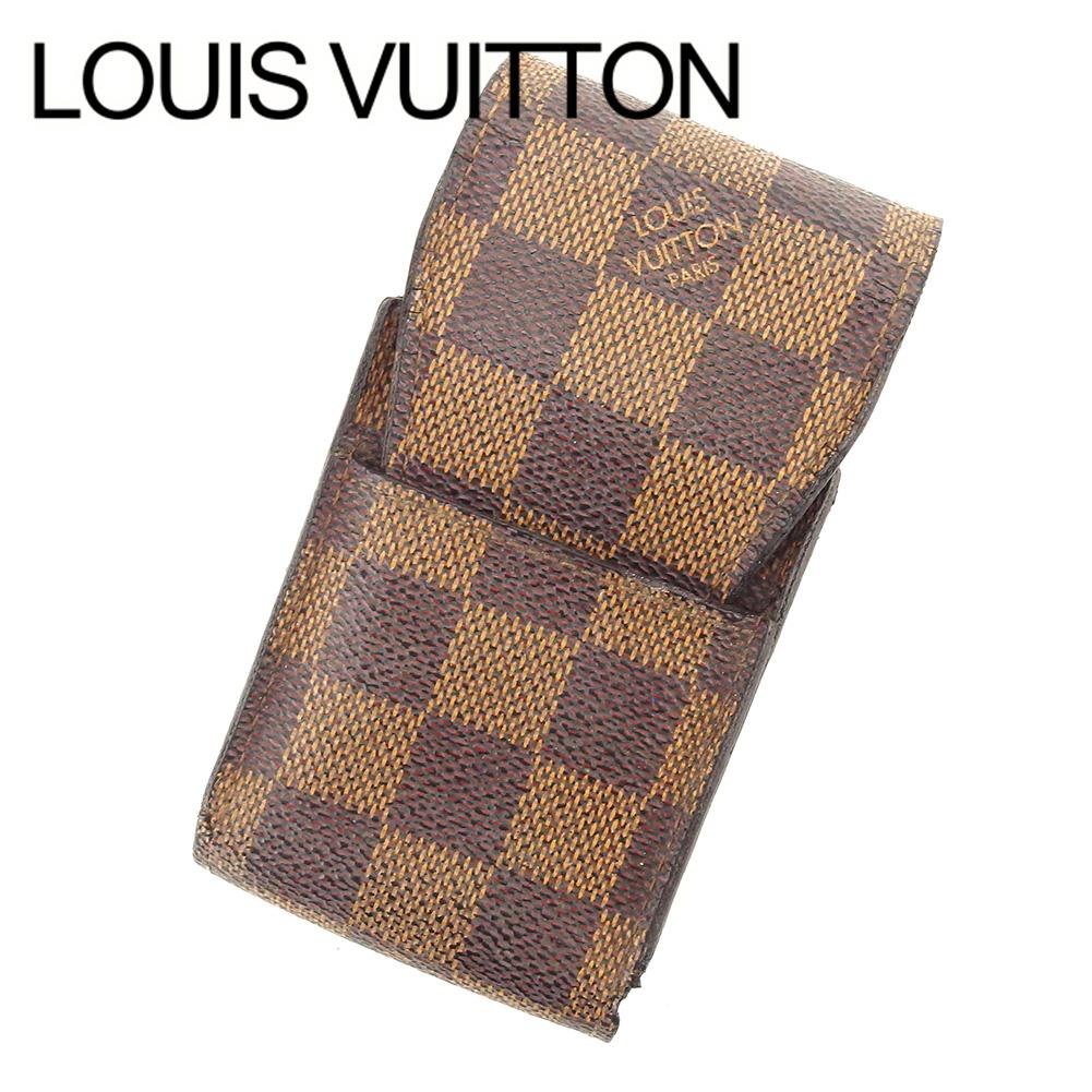 【中古】 ルイ ヴィトン LOUIS VUITTON シガレットケース レディース メンズ 可 エテュイ・シガレット ブラウン PVC×レザー T6437