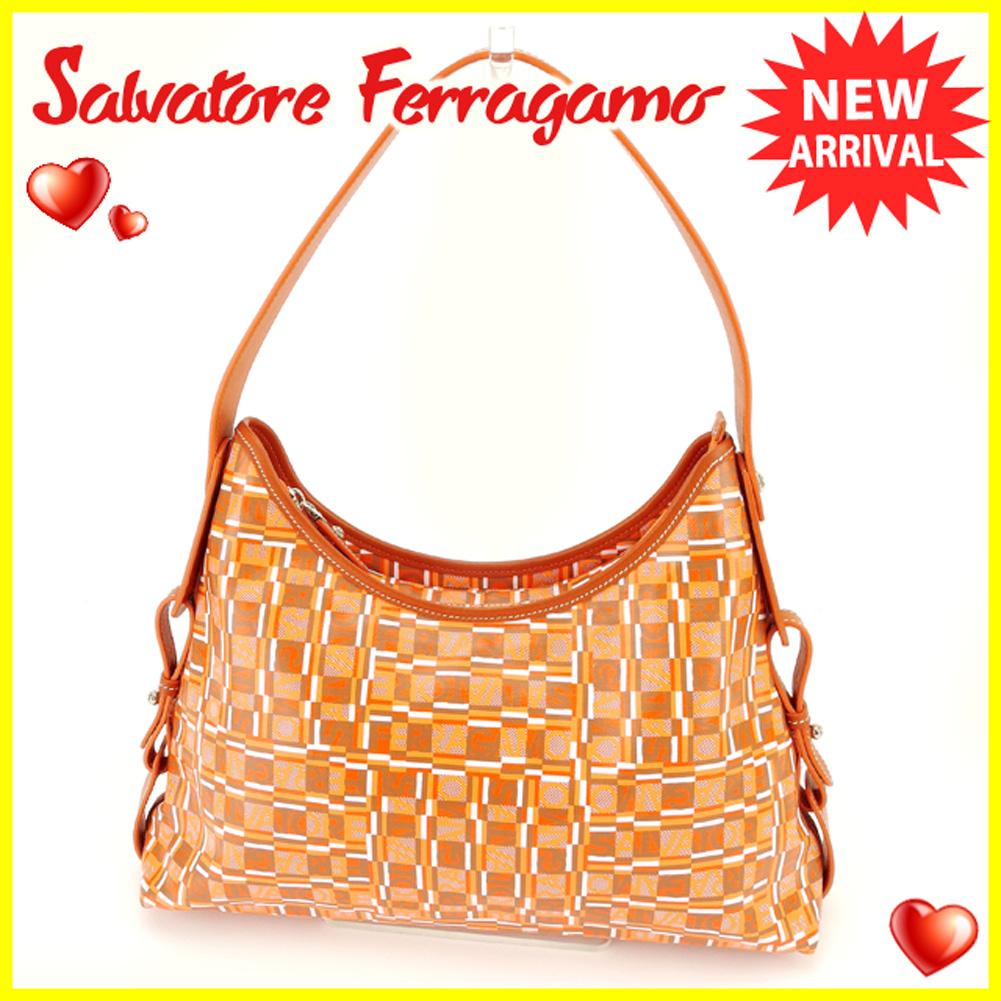 【中古】 サルヴァトーレ フェラガモ Salvatore Ferragamo ショルダーバッグ ワンショルダー バッグ メンズ可  オレンジ PVC×レザー 美品 セール T6308