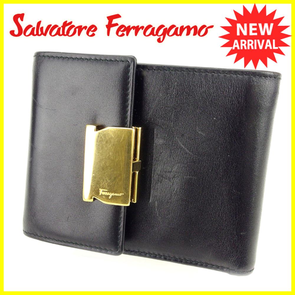 【中古】 サルヴァトーレ フェラガモ Salvatore Ferragamo 三つ折り財布 財布 メンズ可  ブラック 黒 ゴールド レザー 人気 良品 T6324 .