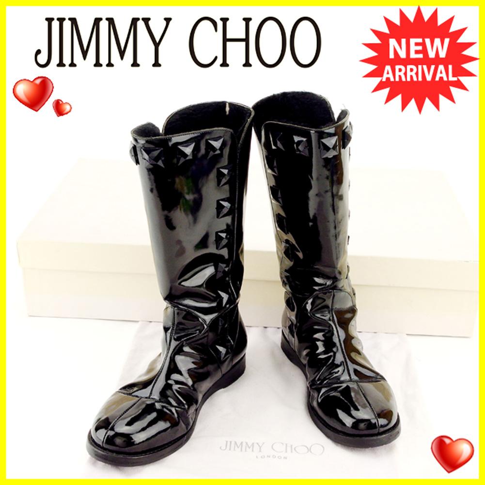 【中古】 ジミーチュウ JIMMY CHOO ブーツ #35 ミディアムブーツ ローヒール メンズ可  ブラック パテントカーフ 人気 良品 T6328