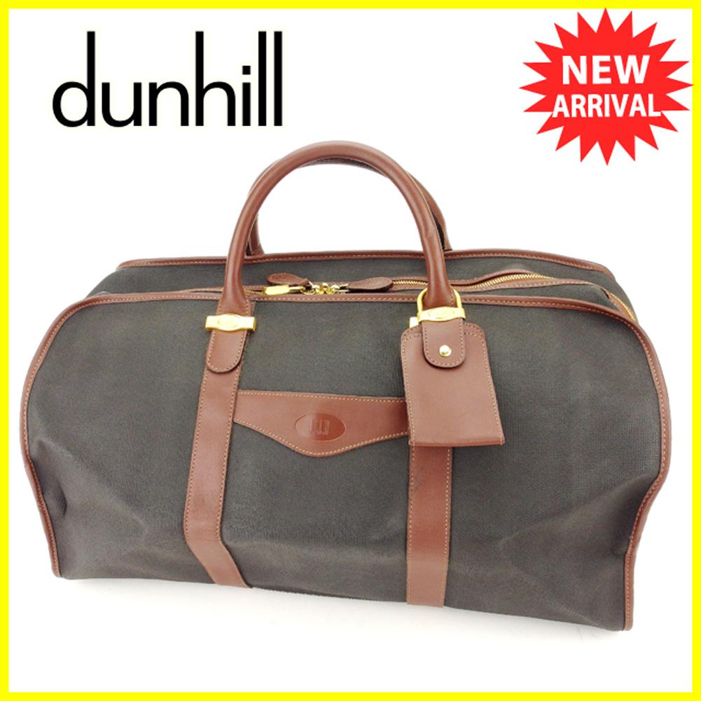 【中古】 ダンヒル dunhill ボストンバッグ ハンドバッグ 旅行バッグ 旅行かばん メンズ可  ブラック ブラウン ゴールド PVC×レザー 人気 良品 T6336