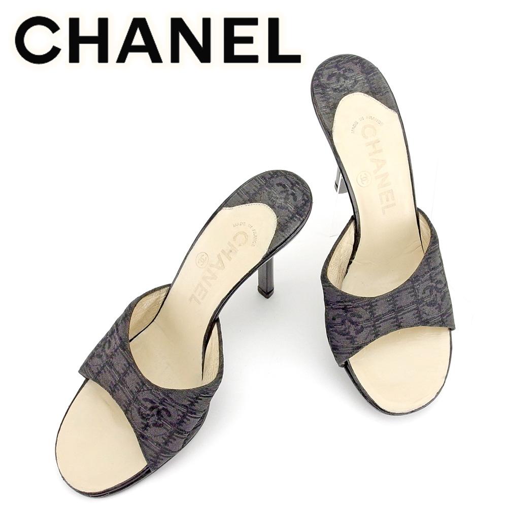 【中古】 シャネル CHANEL サンダル 靴 シューズ レディース #36 ブラック キャンバス×レザー T6447