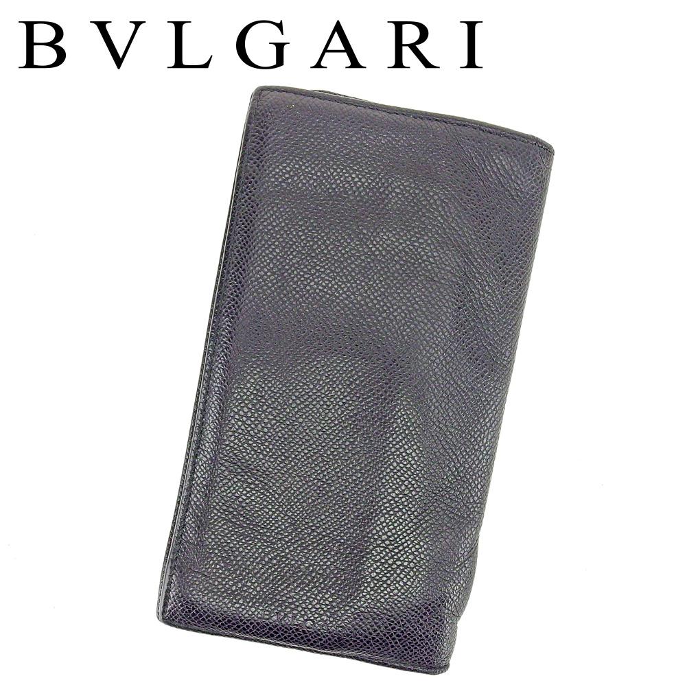 【中古】 ブルガリ BVLGARI 長札入れ 長財布 レディース メンズ 可  ブラック レザー 人気 セール T6448 .