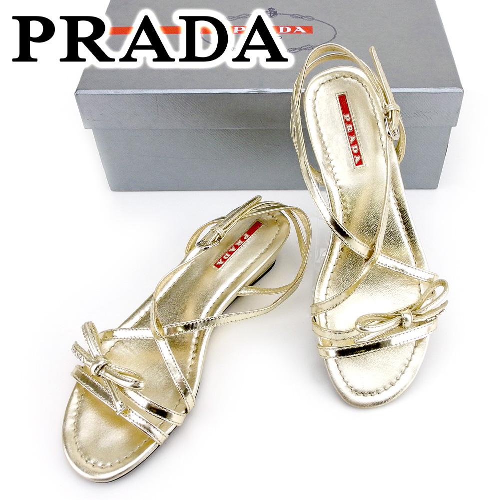 12dae774a67 BRAND DEPOT TOKYO  Prada PRADA sandal shoes Lady s logo gold leather ...