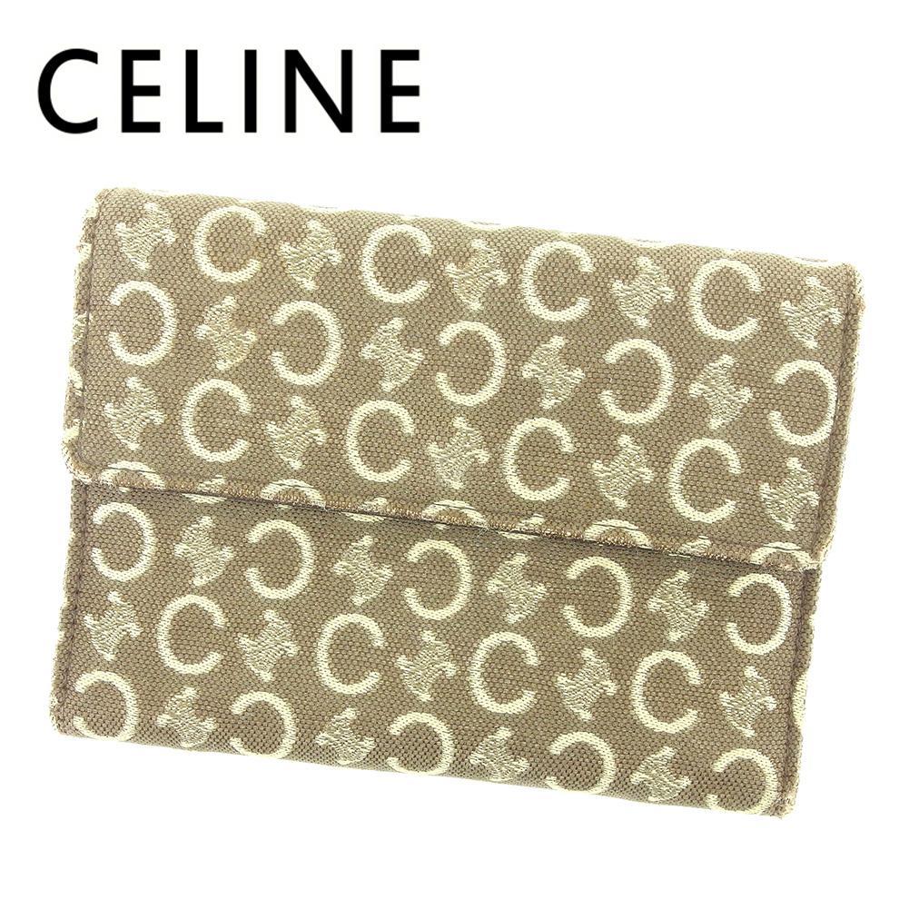 【中古】 セリーヌ CELINE 三つ折り 財布 二つ折り 財布 レディース メンズ 可 Cブラゾン ベージュ ブラウン キャンバス×レザー 人気 セール T6482