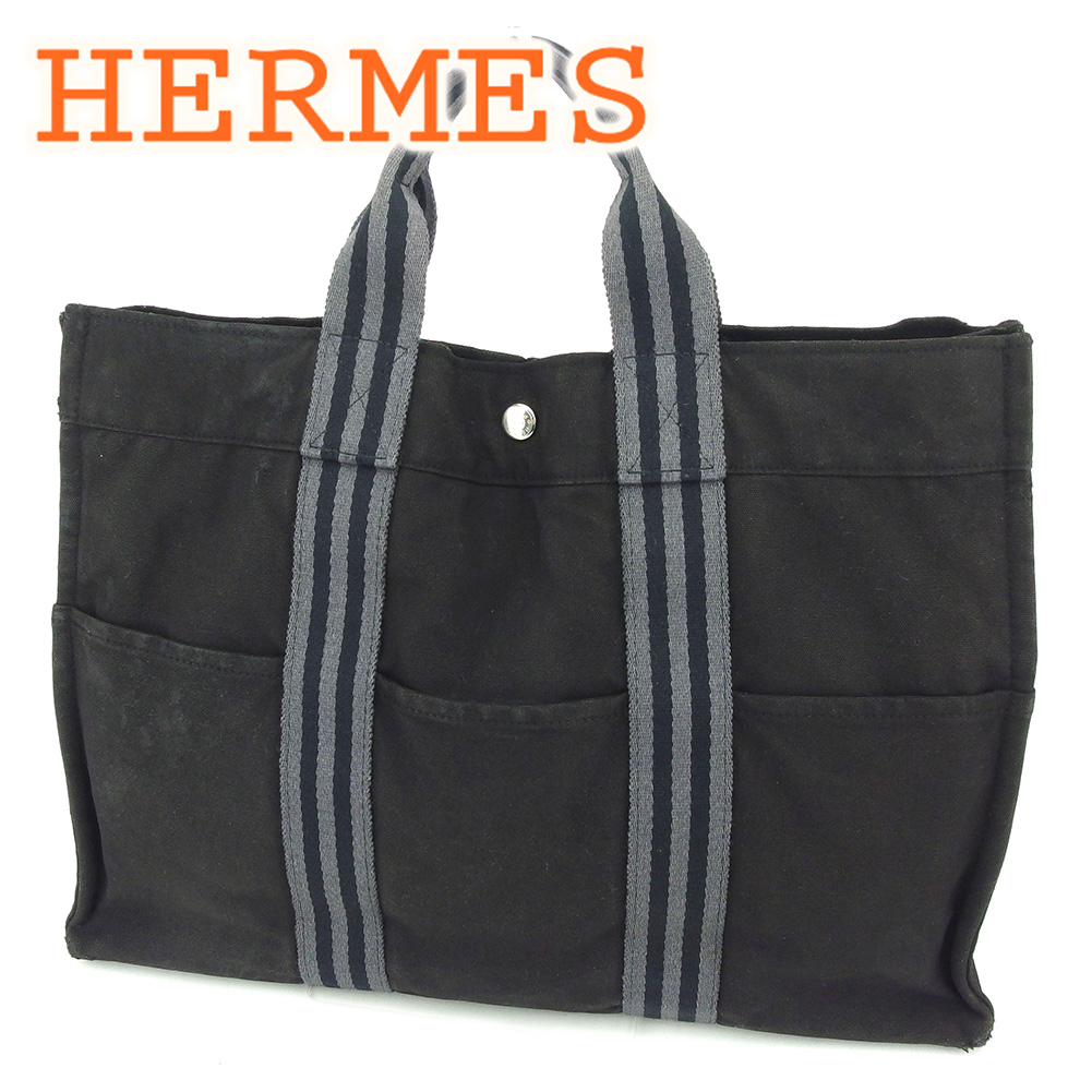 2e19cfc892595c Hermes Herm?s tote bag backhand bag back black fool toe Thoth MM fool toe  lady's men's possible T6499s.