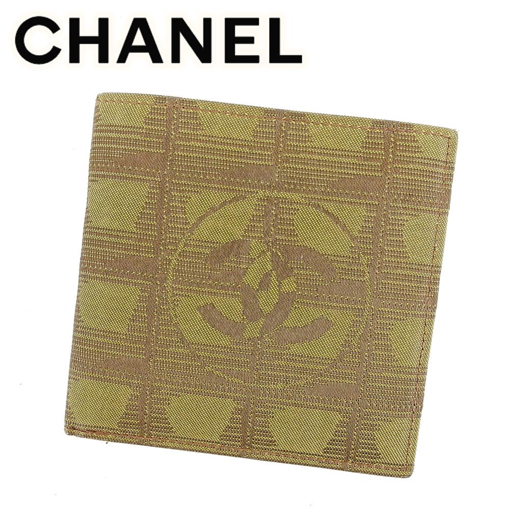 【中古】 シャネル CHANEL 二つ折り財布 財布 メンズ可 ニュートラベルライン ブラウン ナイロンジャガード×カーフ 美品 セール T6558