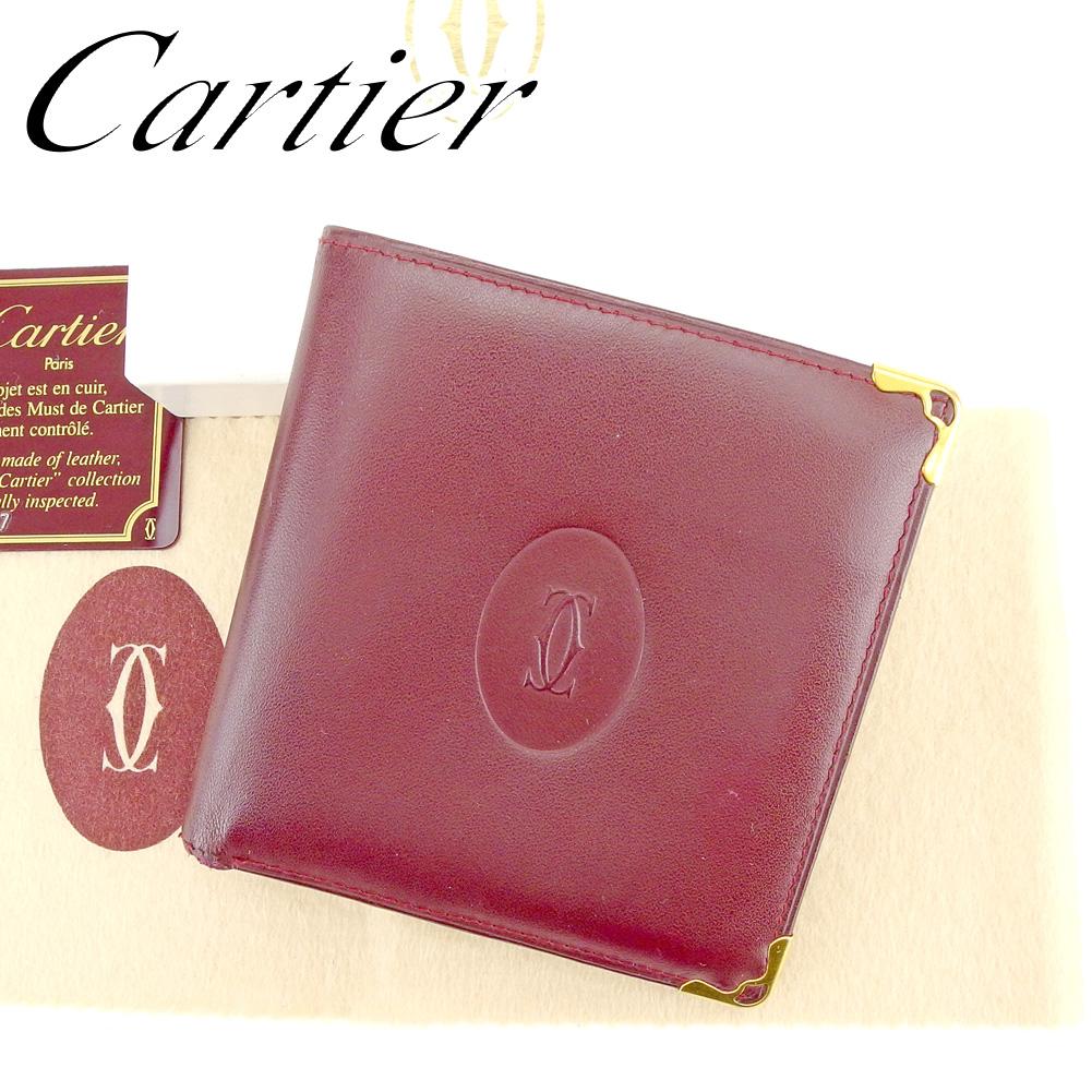 0bcd4143ae50 【中古】 カルティエ Cartier 二つ折り財布 財布 メンズ可 マストライン ボルドー レザー 人気